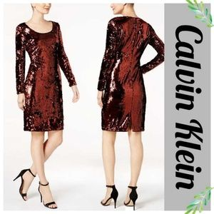 Calvin Klein Allover Copper Sequin Sheath Dress